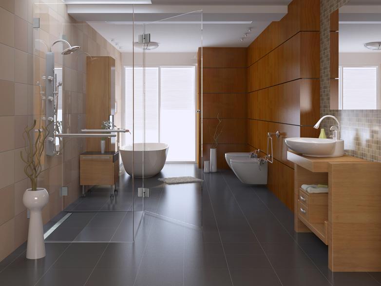 traumbad mit ebenerdiger duschkabine und freistehender badewanne