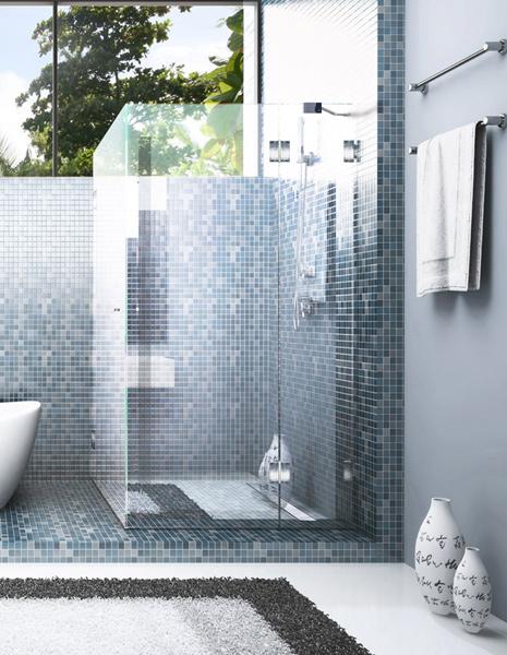 Glas Dusche Richtig Abdichten : Duschkabine in der Ecke mit Glast?r und Mosaikfliesen